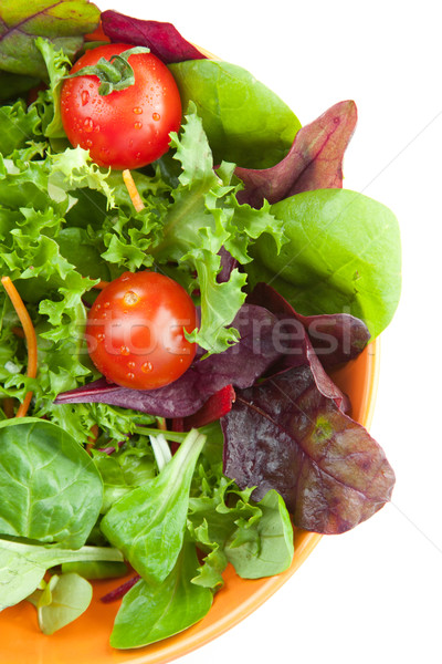 Bowl of fresh green salad with tomatoes Stock photo © veralub