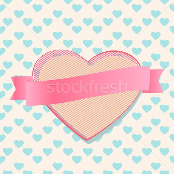 San valentino cuore nastro banner bella romantica Foto d'archivio © veralub