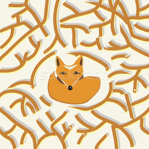 Illustration of a cute little fox in a forest Stock photo © veralub