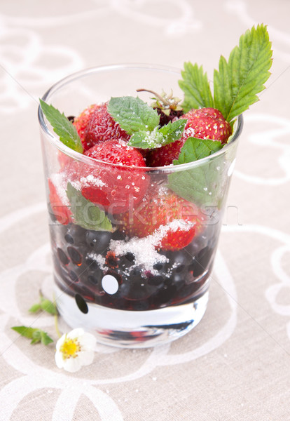 Blueberries and strawberries Stock photo © veralub