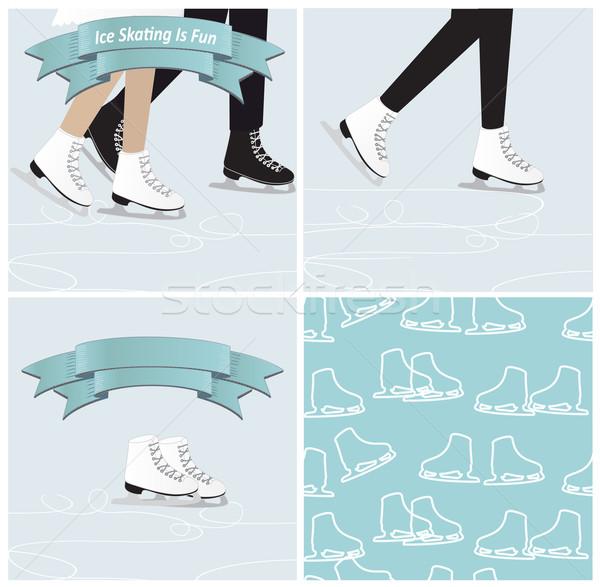 Establecer patinaje sobre hielo ilustraciones cuatro fresco azul Foto stock © veralub