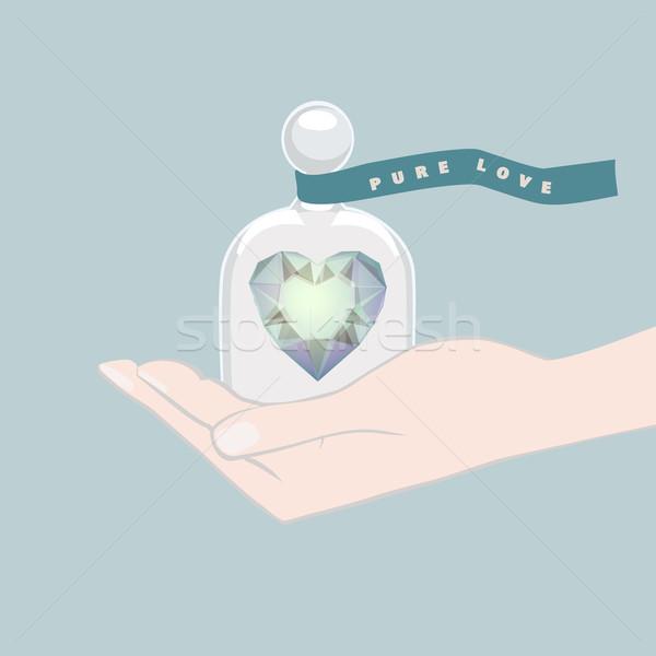 Ajándék szív merő szeretet illusztráció kék Stock fotó © veralub