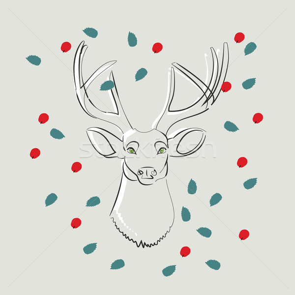 Cerfs yeux verts laisse baies vecteur doodle Photo stock © veralub