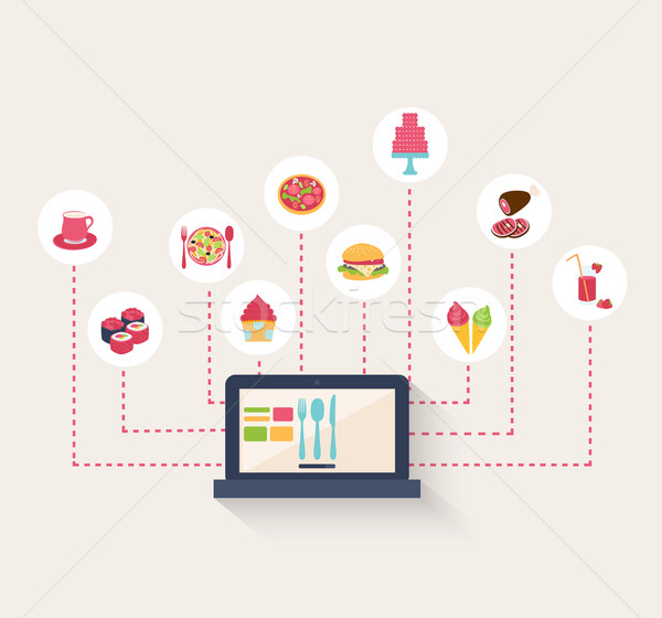 Set of food icons on a blog Stock photo © veralub