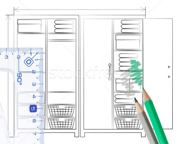 Pencil sketch of an open wardrobe Stock photo © veralub