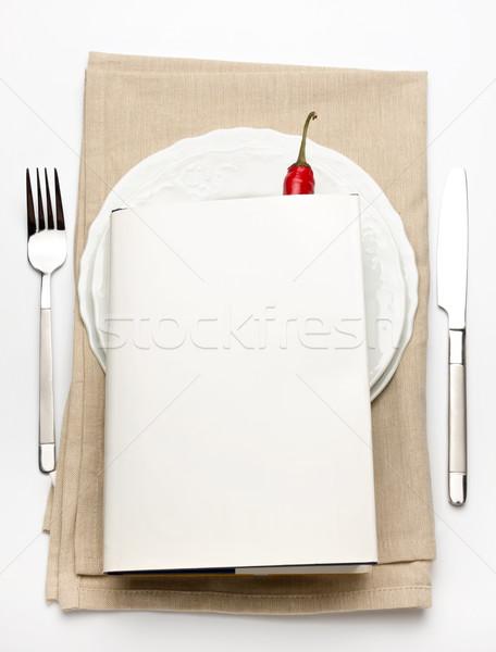 先頭 プレート ナイフ フォーク 白 赤 ストックフォト © veralub