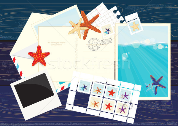 Photos, postcards, mails and starfish stickers Stock photo © veralub