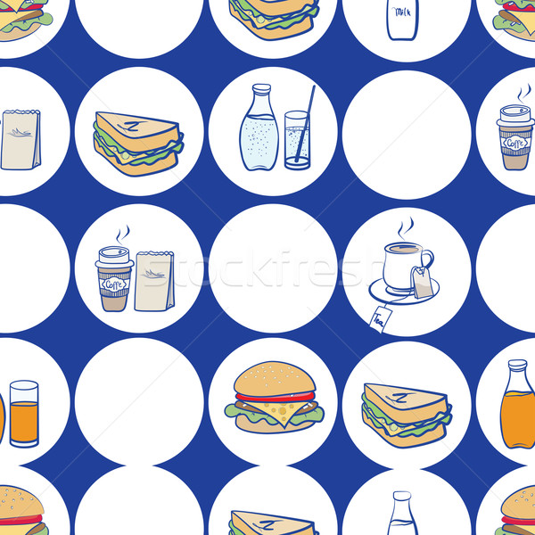 Lunch, breakfast and fast food seamless pattern Stock photo © veralub