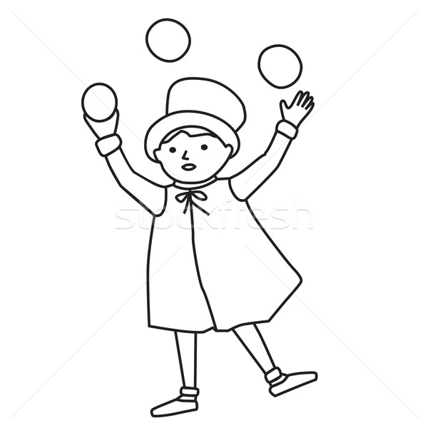Cartooned Graphic of Juggler Boy Stock photo © veralub
