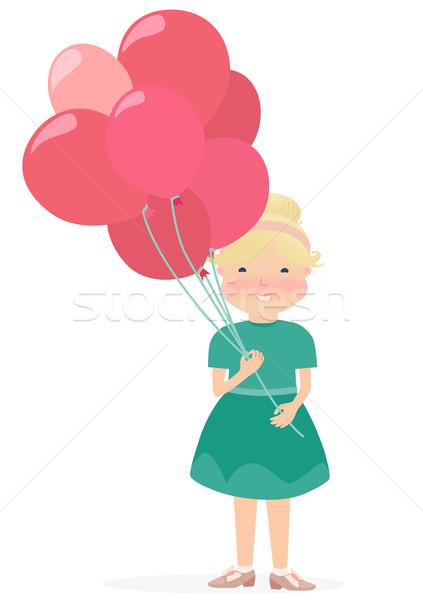 若い女の子 赤 ピンク 風船 グラフィックデザイン ストックフォト © veralub