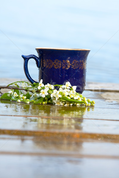Mug of tea or coffee with cherry blossom Stock photo © veralub