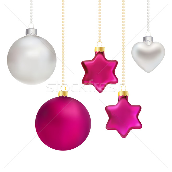 Christmas decorations in silver and magenta Stock photo © veralub