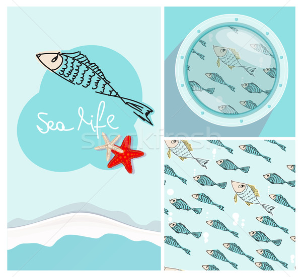 Set of nautical themed designs with swimming fish Stock photo © veralub