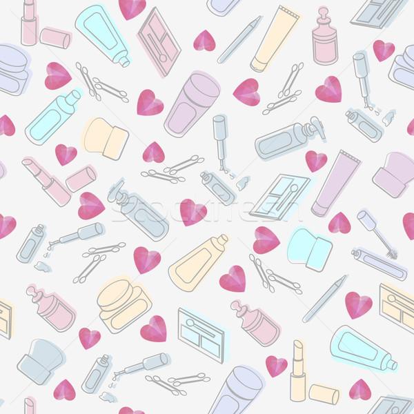 Kozmetika szépségipari termékek szívek végtelen minta rózsaszín fehér Stock fotó © veralub
