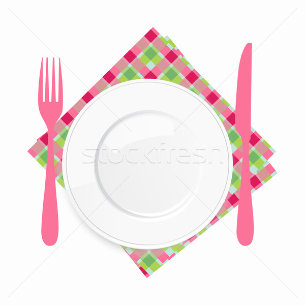 Empty white plate with a pink knife and fork on a checkered napkin Stock photo © veralub