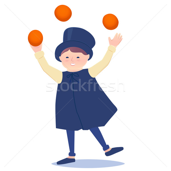 Cartooned Happy Juggler Boy Stock photo © veralub