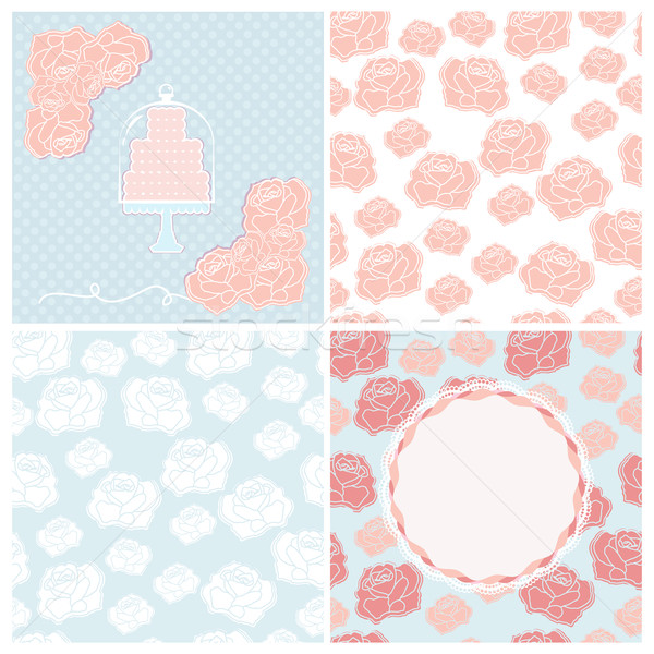 Set of four pastel wedding patterns for cards Stock photo © veralub