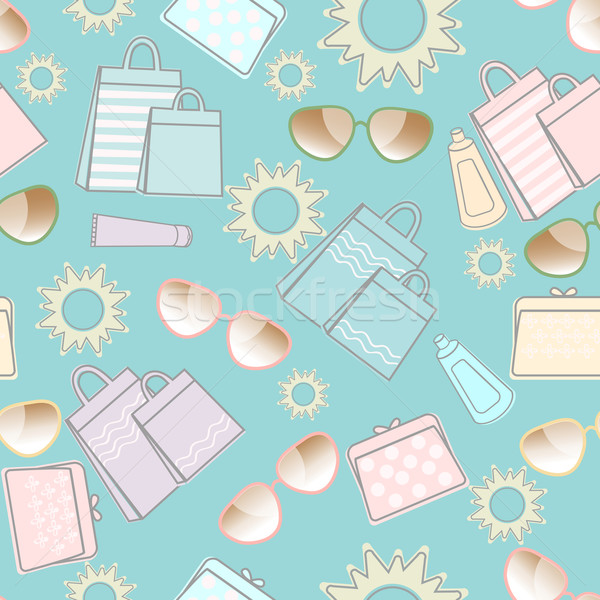 Summer pattern with sun, sunglasses and bags Stock photo © veralub