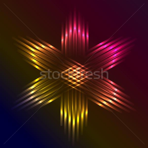 Christmas star formed of beams of purple light Stock photo © veralub