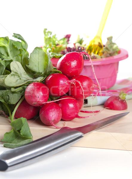 Stock fotó: Köteg · friss · retek · szeletel · saláta · éles