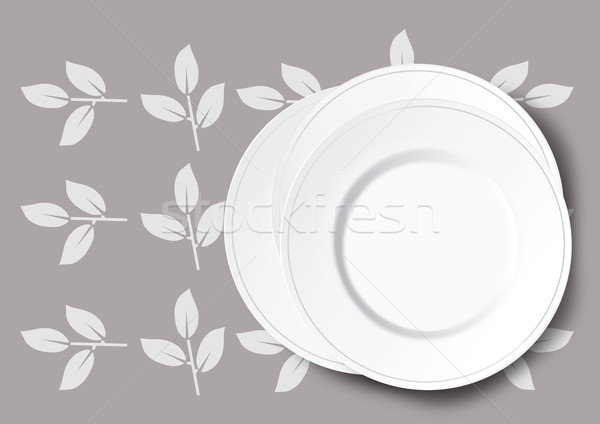Stack of white plate illustration Stock photo © veralub