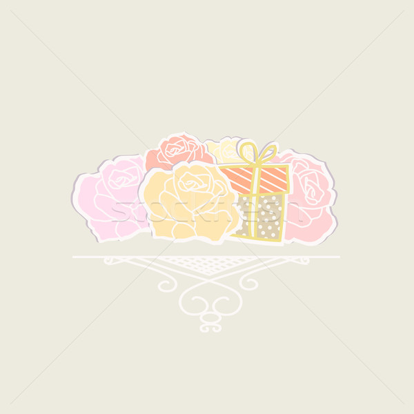 Bouquet of roses with a gift Stock photo © veralub