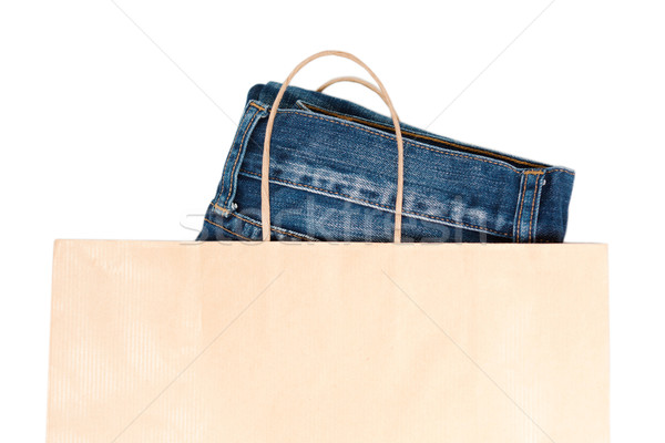 Jeans In Brown Paper Carrier Bag Stock photo © veralub