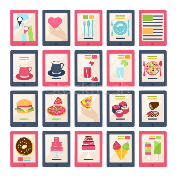 Set of 20 vector food icons Stock photo © veralub