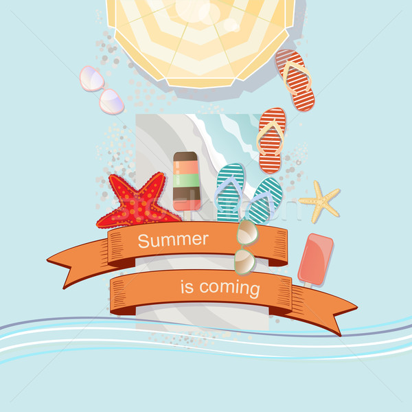 Summer Is Coming poster or card design Stock photo © veralub