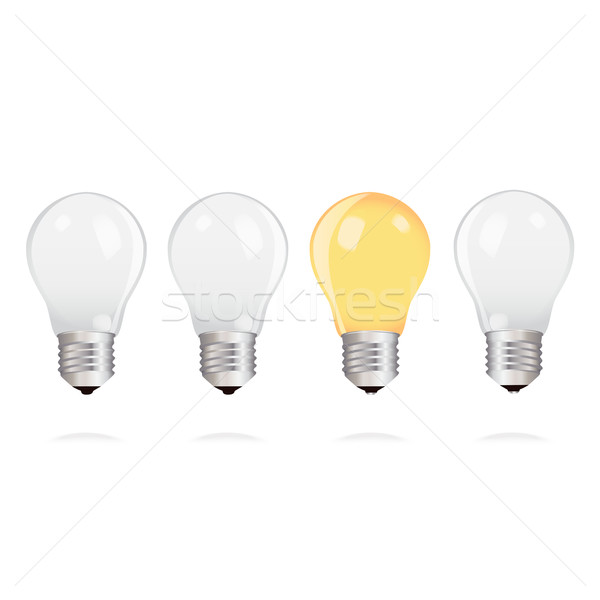 Light bulbs with one bright light bulb on white background Stock photo © veralub