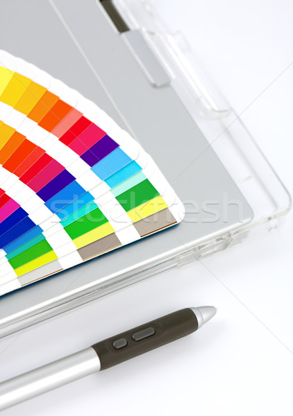 Colour Chart, Graphics Tablet And Pen Stock photo © veralub