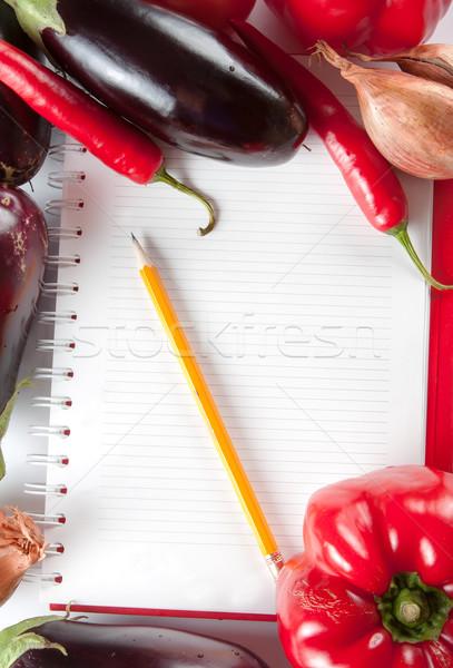 Notebook verdure fresche open varietà shopping alimentari Foto d'archivio © veralub