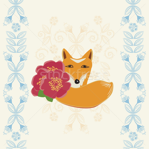 Happy Birthday card with a fox and flowers Stock photo © veralub