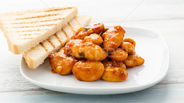 Fagioli salsa di pomodoro bianco caldo piccante pane Foto d'archivio © vertmedia