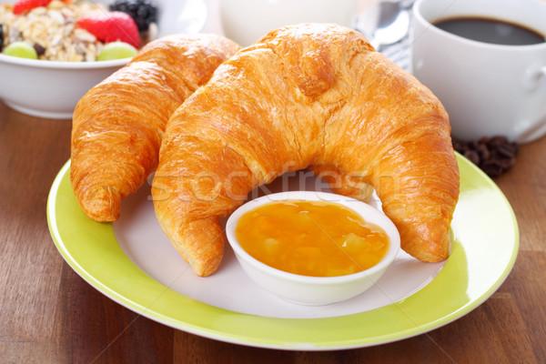 Colazione tempo cornetti jam cereali caffè Foto d'archivio © vertmedia