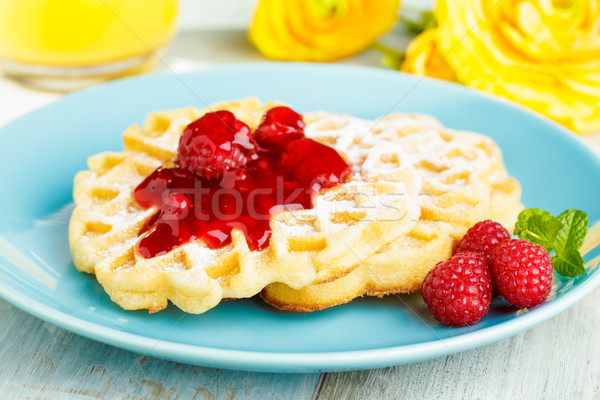 Waffles with red fruit jelly Stock photo © vertmedia