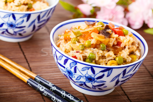 fried rice with vegetables, eggs and mushrooms Stock photo © vertmedia
