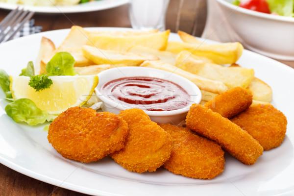 Stock fotó: Tyúk · sültkrumpli · ketchup · étel · mell · vacsora