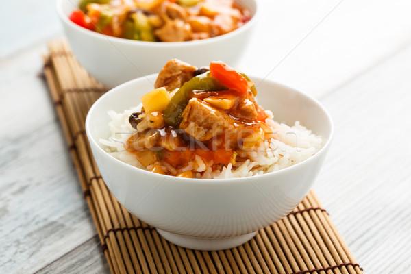 Rizs édes fanyar zöldségek szója ázsiai Stock fotó © vertmedia