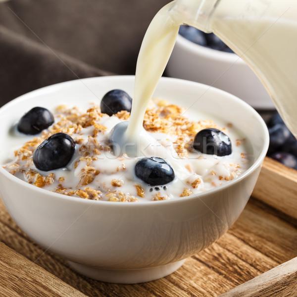 злаки черника орехи свежие молоко фитнес Сток-фото © vertmedia