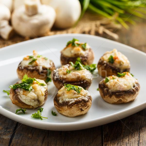 Nadziewany grzyby parmezan świeże zioła żywności Zdjęcia stock © vertmedia