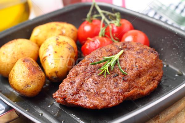 Сток-фото: картофель · гриль · помидоров · еды · стейк