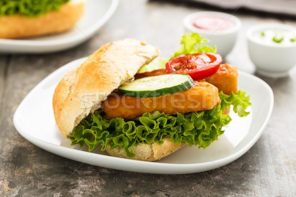 魚 フィレット サンドイッチ サラダ ランチ 新鮮な ストックフォト © vertmedia