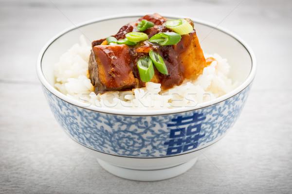 барбекю Тофу риса частей копченый зеленый Сток-фото © vertmedia