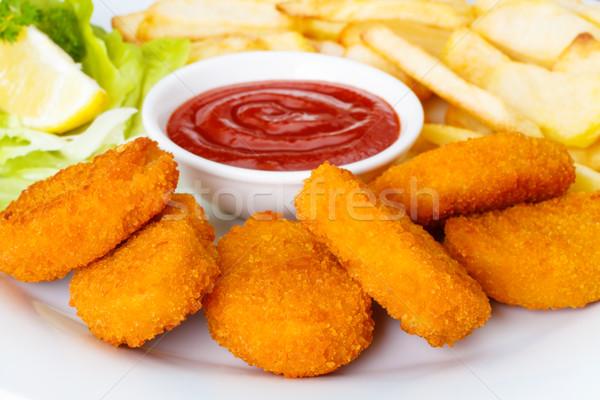 Stockfoto: Kip · ketchup · voedsel · borst · diner