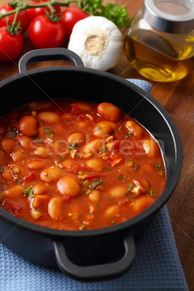 Sıcak türk fasulye güveç lezzetli domates sosu Stok fotoğraf © vertmedia