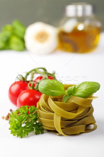 Tagliatelle ingrediënten tomaten kruiden specerijen olie Stockfoto © vertmedia