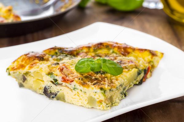 İtalyan sebze parmesan peyniri peynir akşam yemeği yumurta Stok fotoğraf © vertmedia