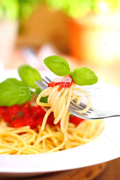 Stock fotó: Spagetti · paradicsomszósz · gyümölcsös · bazsalikom · étel · konyha