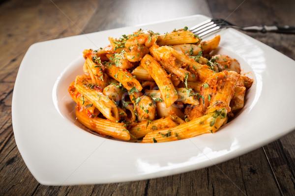 Fusie keuken Italiaans pasta Grieks bonen Stockfoto © vertmedia